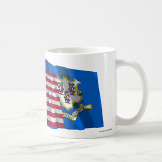 United States and Connecticut Waving Flags Classic White Coffee Mug