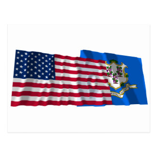 United States and Connecticut Waving Flags Postcard