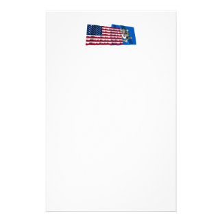 United States and Connecticut Waving Flags Stationery Design