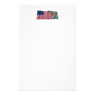 United States and Delaware Waving Flags Customized Stationery