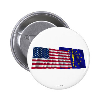 United States and Indiana Waving Flags Buttons