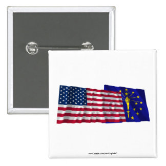 United States and Indiana Waving Flags 15 Cm Square Badge