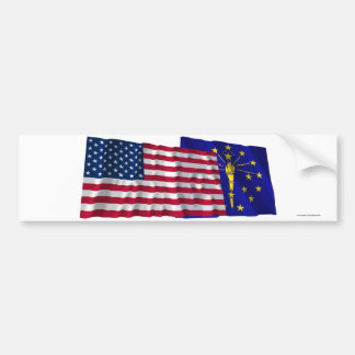 United States and Indiana Waving Flags Bumper Sticker