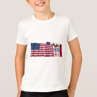 United States and Iowa Waving Flags T-Shirt