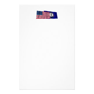 United States and Kentucky Waving Flags Custom Stationery