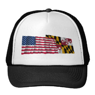 United States and Maryland Waving Flags Hats