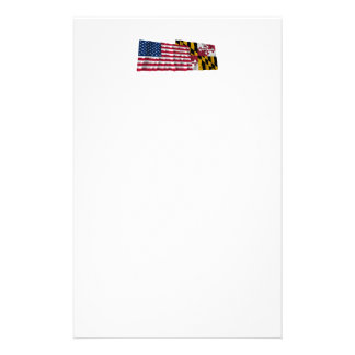 United States and Maryland Waving Flags Customized Stationery