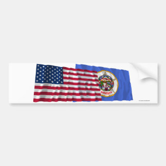 United States and Minnesota Waving Flags Bumper Sticker