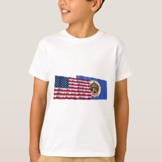 United States and Minnesota Waving Flags T-Shirt