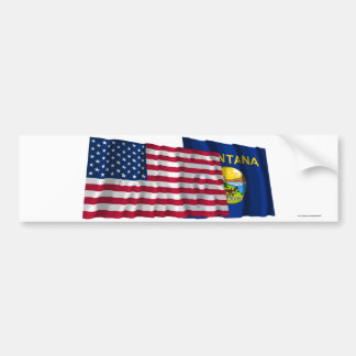United States and Montana Waving Flags Bumper Sticker