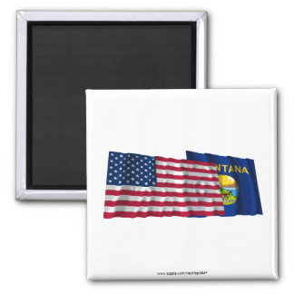 United States and Montana Waving Flags Magnet