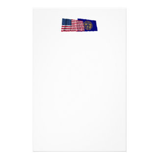 United States and Nebraska Waving Flags Personalized Stationery