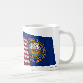 United States and New Hampshire Waving Flags Classic White Coffee Mug
