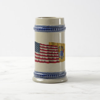 United States and New Jersey Waving Flags Beer Stein
