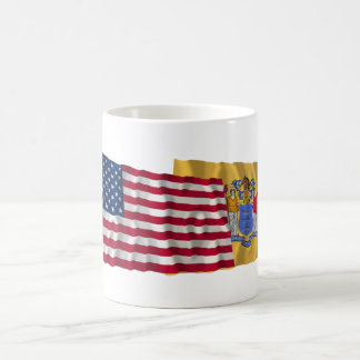 United States and New Jersey Waving Flags Coffee Mug