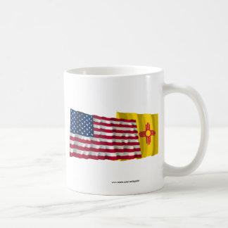 United States and New Mexico Waving Flags Coffee Mug