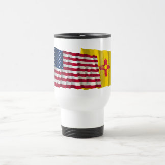United States and New Mexico Waving Flags Coffee Mug