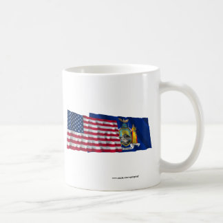 United States and New York Waving Flags Basic White Mug