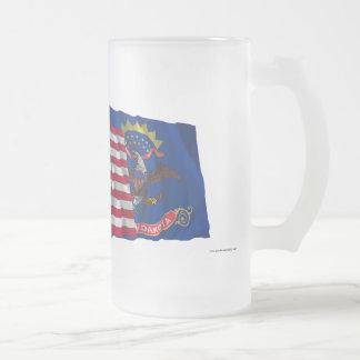 United States and North Dakota Waving Flags Frosted Glass Mug
