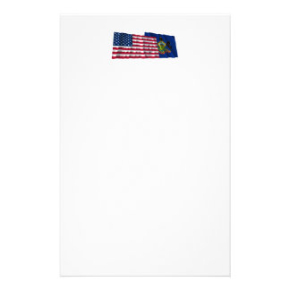 United States and Pennsylvania Waving Flags Custom Stationery