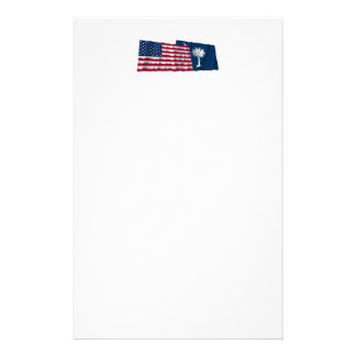 United States and South Carolina Waving Flags Personalised Stationery