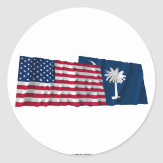 United States and South Carolina Waving Flags Round Sticker