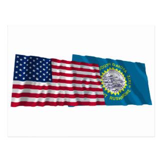 United States and South Dakota Waving Flags Postcard