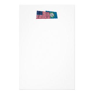 United States and South Dakota Waving Flags Stationery Design