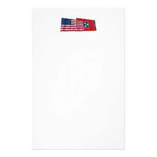 United States and Tennessee Waving Flags Stationery