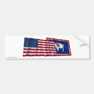 United States and Wyoming Waving Flags Bumper Stickers