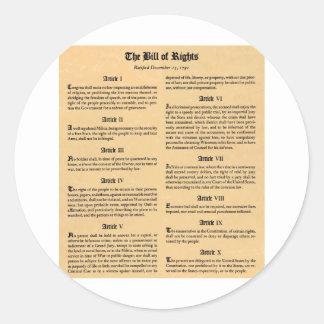 United States Bill of Rights Round Sticker