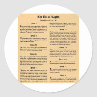 United States Bill of Rights Classic Round Sticker
