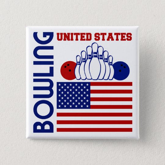 United States Bowling 15 Cm Square Badge