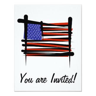 United States Brush Flag 11 Cm X 14 Cm Invitation Card
