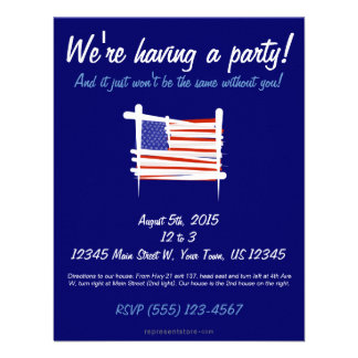 United States Brush Flag Personalized Announcement