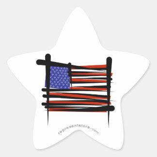 United States Brush Flag Star Sticker