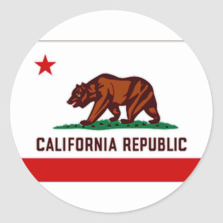 United States California Flag Round Sticker