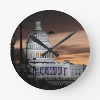 United States Capitol Building at Dusk Clocks