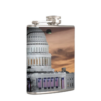 United States Capitol Building at Dusk Hip Flask
