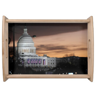 United States Capitol Building at Dusk Serving Trays