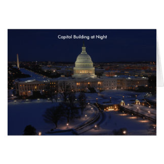 United States Capitol Building at Night Card