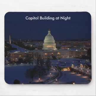 United States Capitol Building at Night Mouse Pad