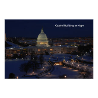 United States Capitol Building at Night Poster