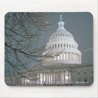 United States Capitol Building in Winter Dress Mouse Pad
