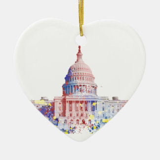 United States Capitol Ceramic Heart Decoration