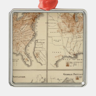 United States Census maps, 1870 Christmas Ornament
