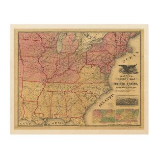 United States Civil War Map by Charles Magnus 1862 Wood Prints