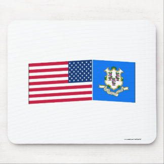 United States Connecticut Flags Mouse Mat
