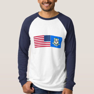 United States & Connecticut Flags Tee Shirts