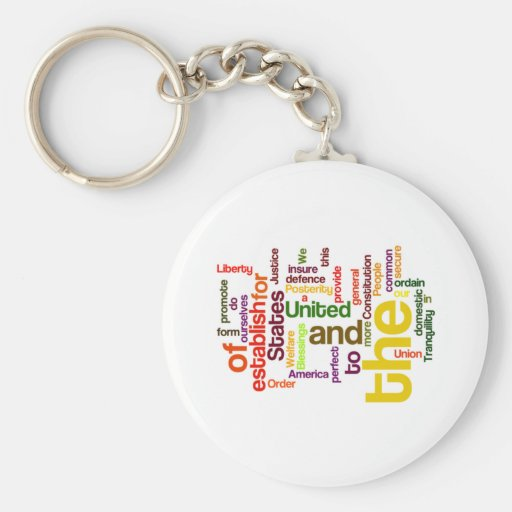 United States Constitution Preamble Word Cloud Key Chain